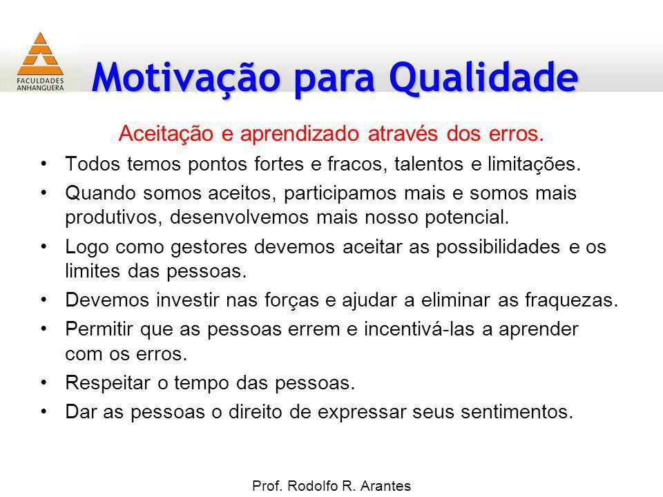 Motivação para Qualidade Prof. Rodolfo R. Arantes Aceitação e aprendizado através dos erros. Todos temos pontos fortes e fracos, talentos e limitações