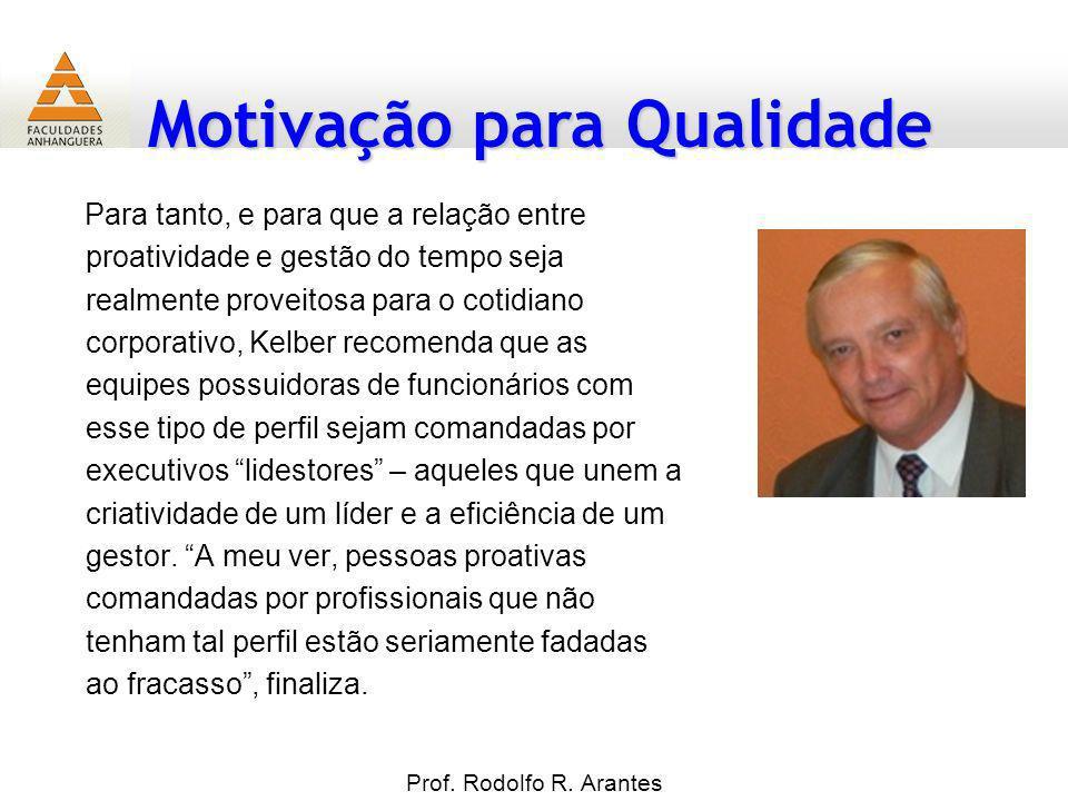 Motivação para Qualidade Prof. Rodolfo R. Arantes Para tanto, e para que a relação entre proatividade e gestão do tempo seja realmente proveitosa para