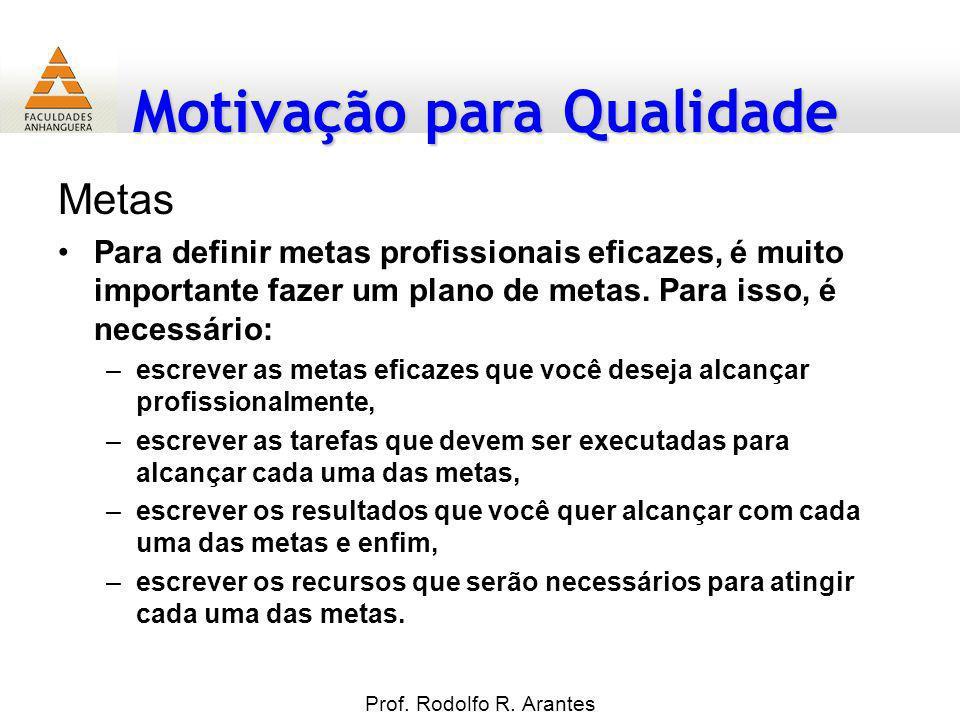Motivação para Qualidade Metas Para definir metas profissionais eficazes, é muito importante fazer um plano de metas. Para isso, é necessário: –escrev