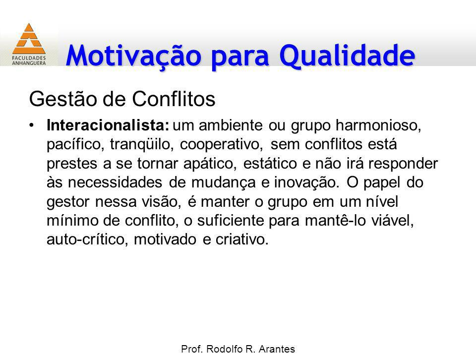 Motivação para Qualidade Gestão de Conflitos Interacionalista: um ambiente ou grupo harmonioso, pacífico, tranqüilo, cooperativo, sem conflitos está p