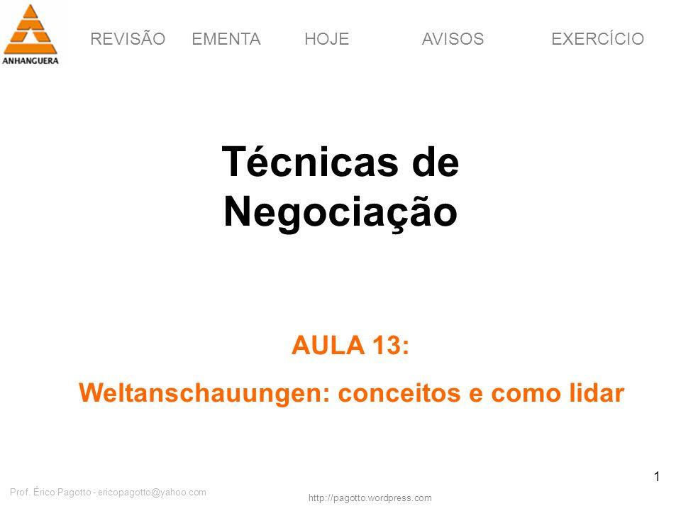 REVISÃOEMENTAHOJEEXERCÍCIOAVISOS http://pagotto.wordpress.com Prof. Érico Pagotto - ericopagotto@yahoo.com 1 Técnicas de Negociação AULA 13: Weltansch