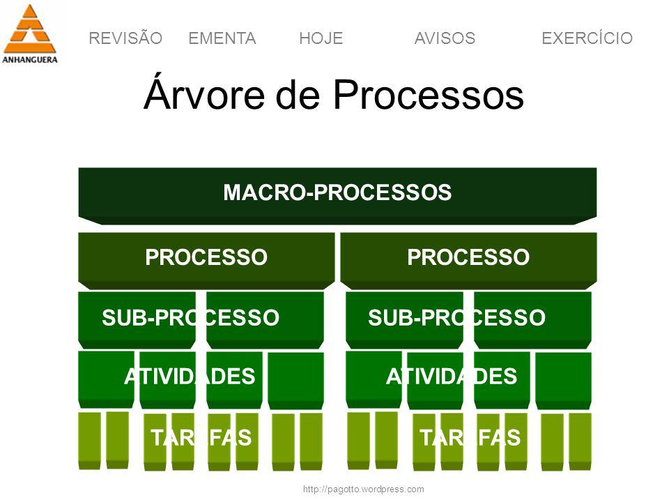 REVISÃOEMENTAHOJEEXERCÍCIOAVISOS http://pagotto.wordpress.com Árvore de Processos MACRO-PROCESSOS PROCESSO TAREFAS SUB-PROCESSO ATIVIDADES