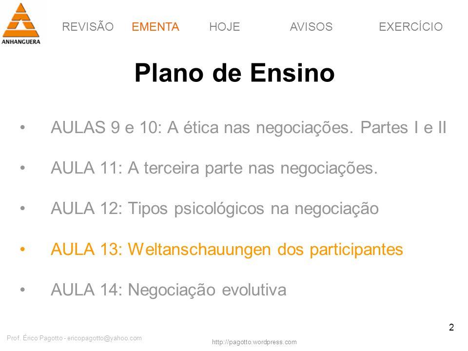 REVISÃOEMENTAHOJEEXERCÍCIOAVISOS http://pagotto.wordpress.com Prof. Érico Pagotto - ericopagotto@yahoo.com 2 Plano de Ensino AULAS 9 e 10: A ética nas