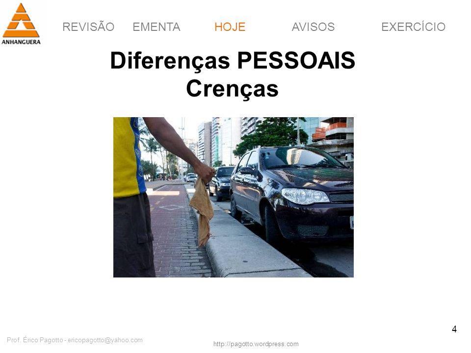 REVISÃOEMENTAHOJEEXERCÍCIOAVISOS http://pagotto.wordpress.com Prof. Érico Pagotto - ericopagotto@yahoo.com 4 Diferenças PESSOAIS Crenças HOJE