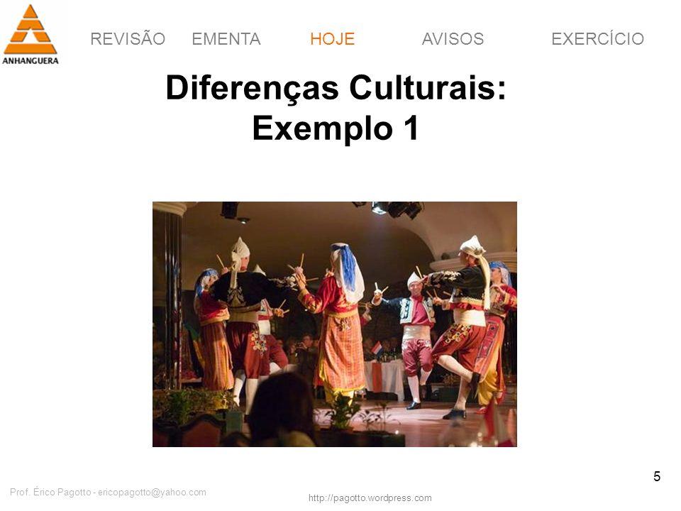 REVISÃOEMENTAHOJEEXERCÍCIOAVISOS http://pagotto.wordpress.com Prof. Érico Pagotto - ericopagotto@yahoo.com 5 Diferenças Culturais: Exemplo 1 HOJE