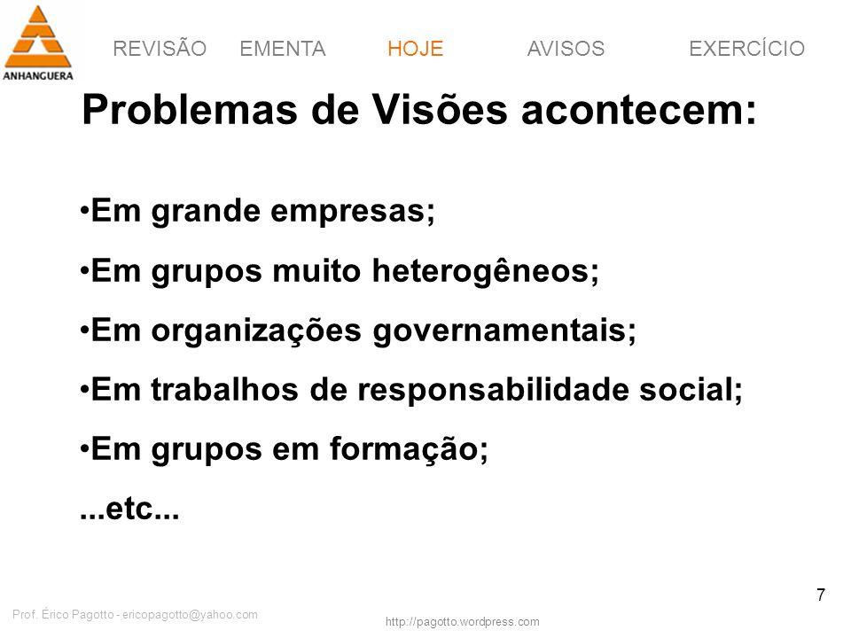 REVISÃOEMENTAHOJEEXERCÍCIOAVISOS http://pagotto.wordpress.com Prof. Érico Pagotto - ericopagotto@yahoo.com 7 Problemas de Visões acontecem: HOJE Em gr
