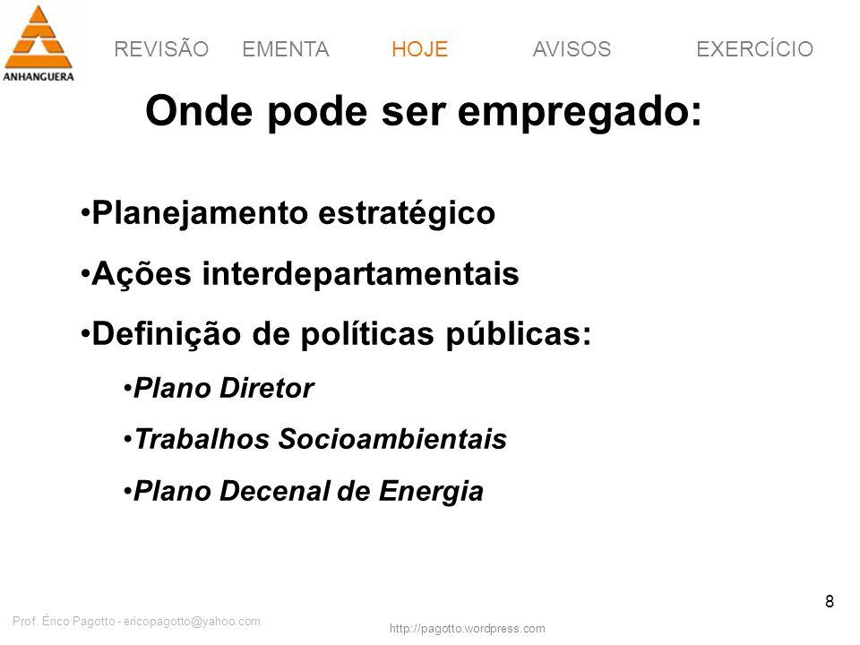 REVISÃOEMENTAHOJEEXERCÍCIOAVISOS http://pagotto.wordpress.com Prof. Érico Pagotto - ericopagotto@yahoo.com 8 Onde pode ser empregado: HOJE Planejament