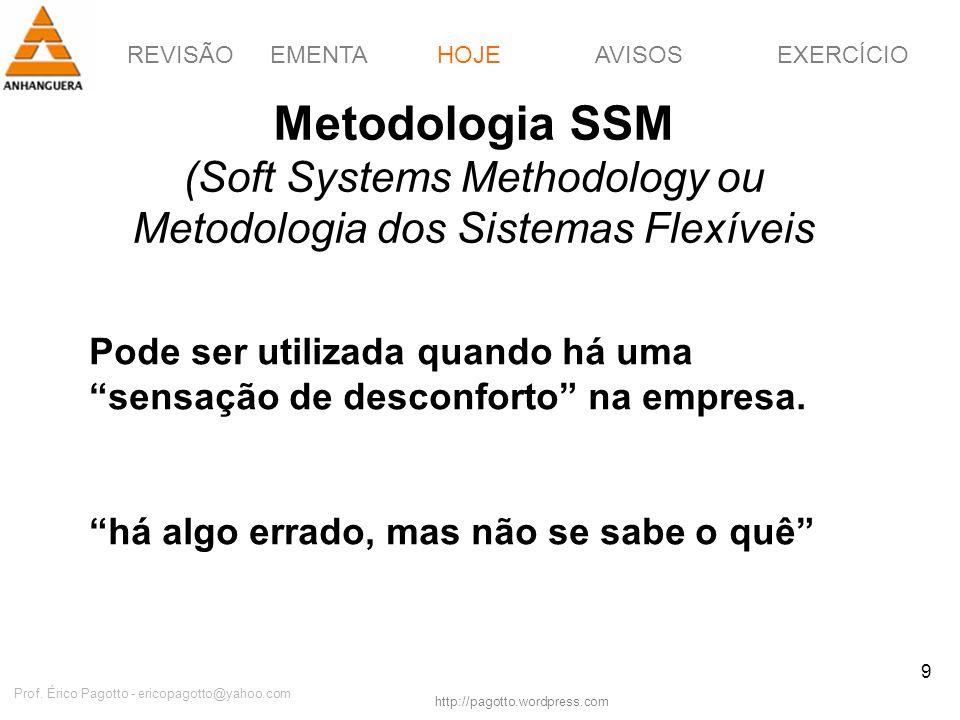 REVISÃOEMENTAHOJEEXERCÍCIOAVISOS http://pagotto.wordpress.com Prof. Érico Pagotto - ericopagotto@yahoo.com 9 Metodologia SSM (Soft Systems Methodology