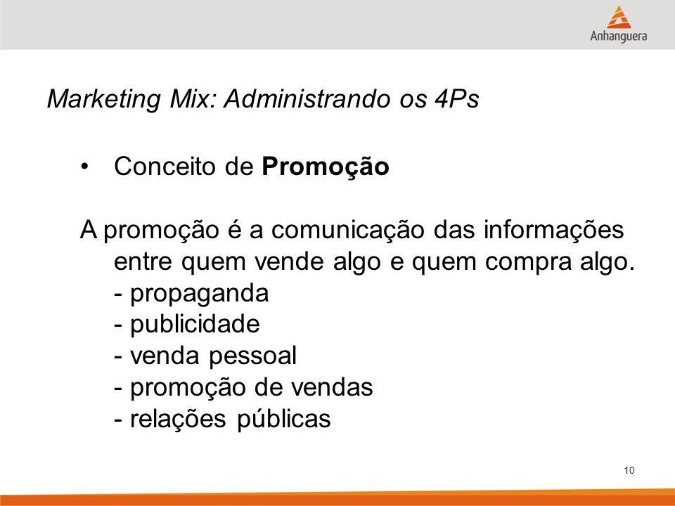 10 Marketing Mix: Administrando os 4Ps Conceito de Promoção A promoção é a comunicação das informações entre quem vende algo e quem compra algo. - pro