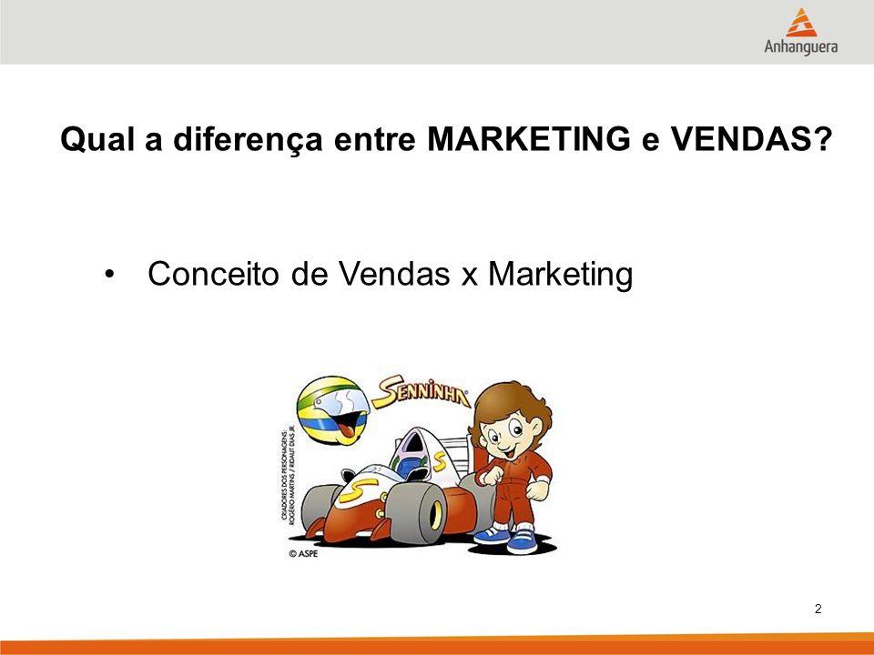 2 Qual a diferença entre MARKETING e VENDAS? Conceito de Vendas x Marketing