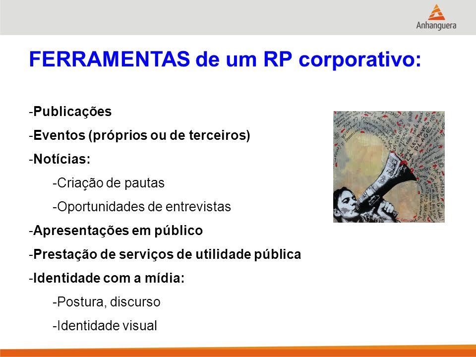 FERRAMENTAS de um RP corporativo: -Publicações -Eventos (próprios ou de terceiros) -Notícias: -Criação de pautas -Oportunidades de entrevistas -Aprese