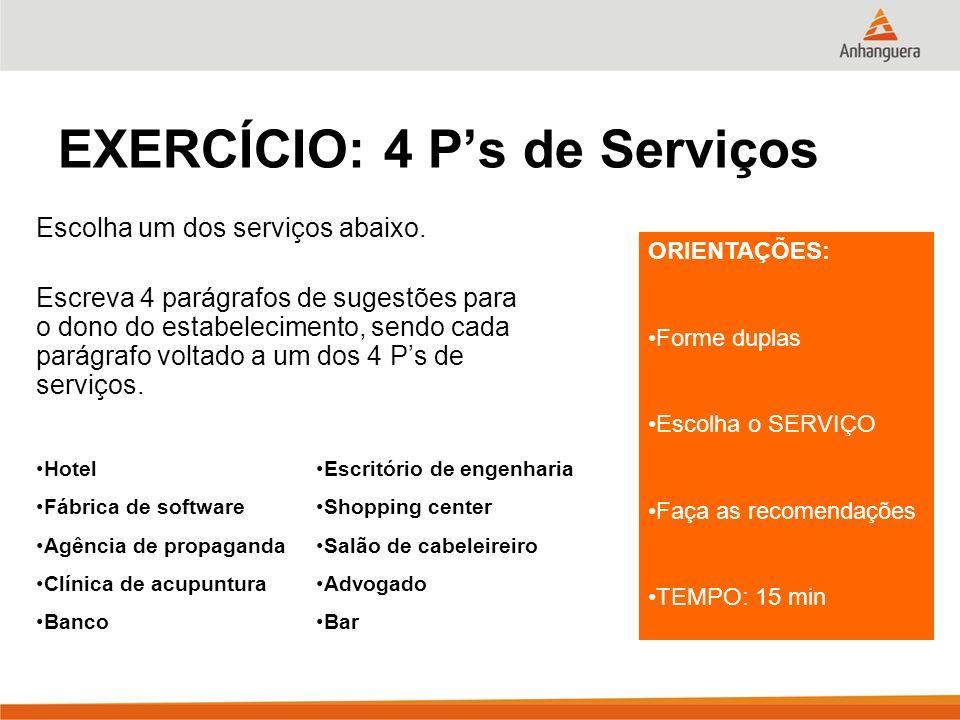 EXERCÍCIO: 4 Ps de Serviços Escolha um dos serviços abaixo. Escreva 4 parágrafos de sugestões para o dono do estabelecimento, sendo cada parágrafo vol