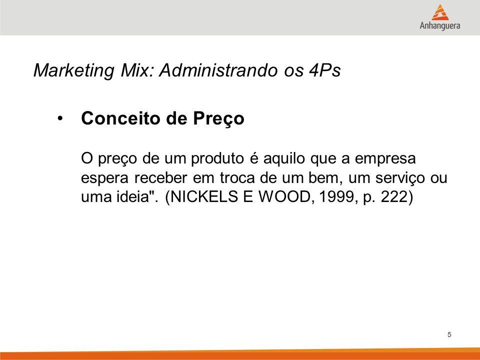 5 Marketing Mix: Administrando os 4Ps Conceito de Preço O preço de um produto é aquilo que a empresa espera receber em troca de um bem, um serviço ou