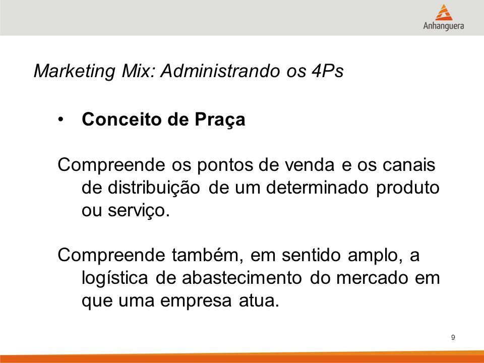 9 Marketing Mix: Administrando os 4Ps Conceito de Praça Compreende os pontos de venda e os canais de distribuição de um determinado produto ou serviço