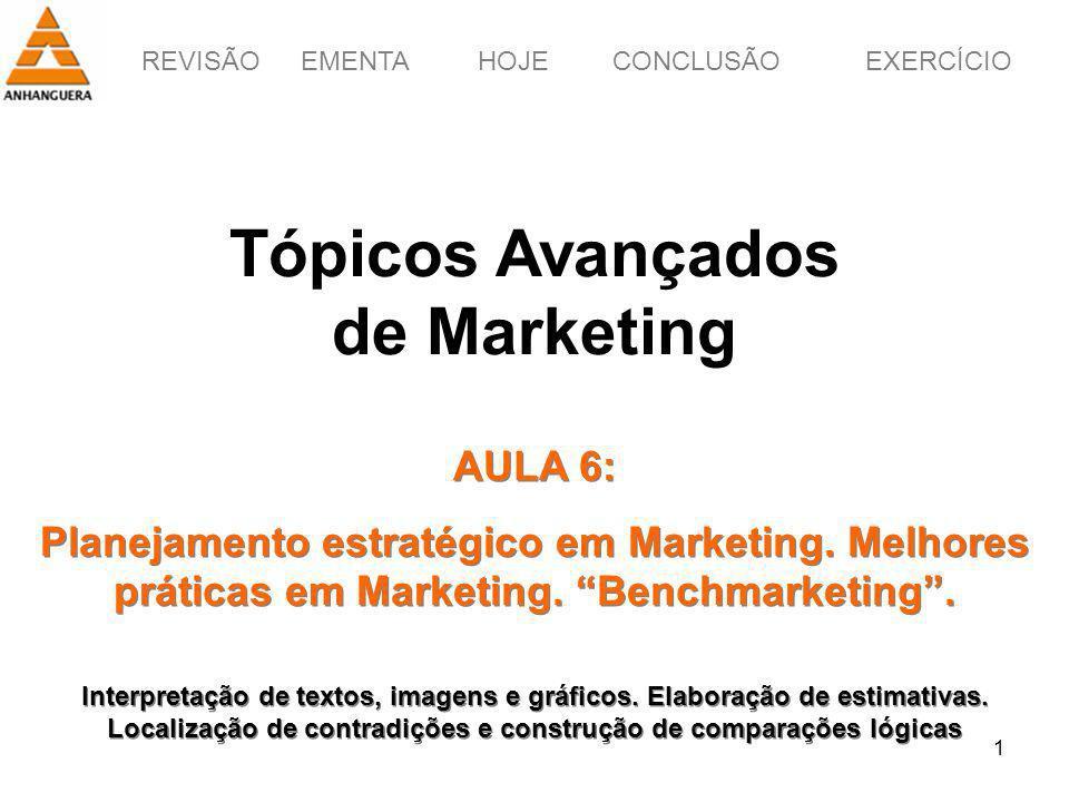 REVISÃOEMENTAHOJEEXERCÍCIOCONCLUSÃO 1 Tópicos Avançados de Marketing AULA 6: Planejamento estratégico em Marketing. Melhores práticas em Marketing. Be