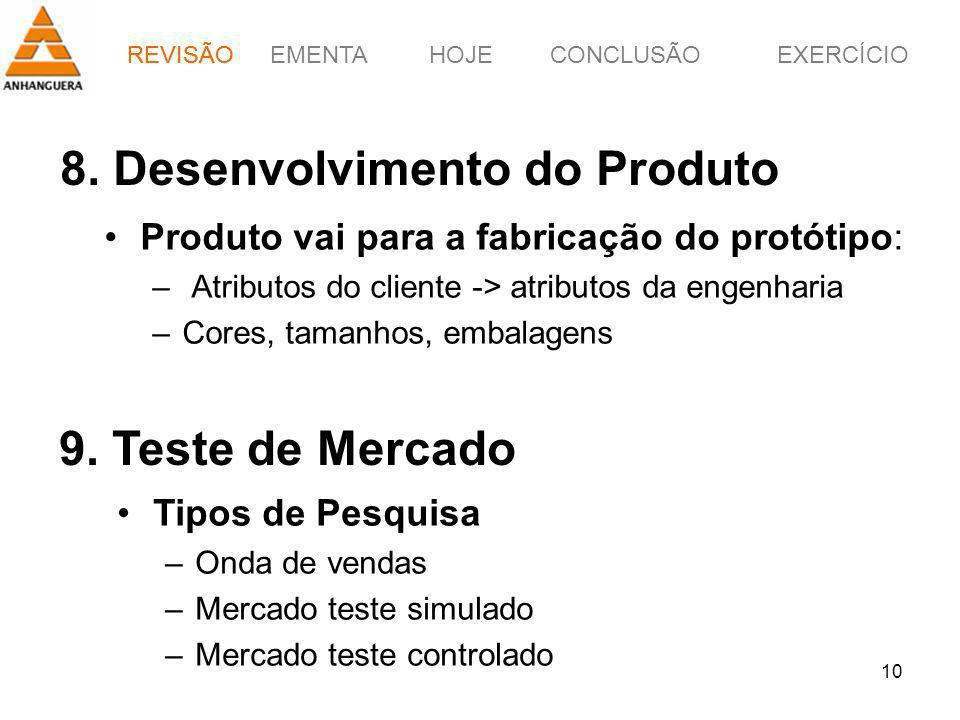 EMENTAHOJEEXERCÍCIOCONCLUSÃO 10 8. Desenvolvimento do Produto Produto vai para a fabricação do protótipo: – Atributos do cliente -> atributos da engen