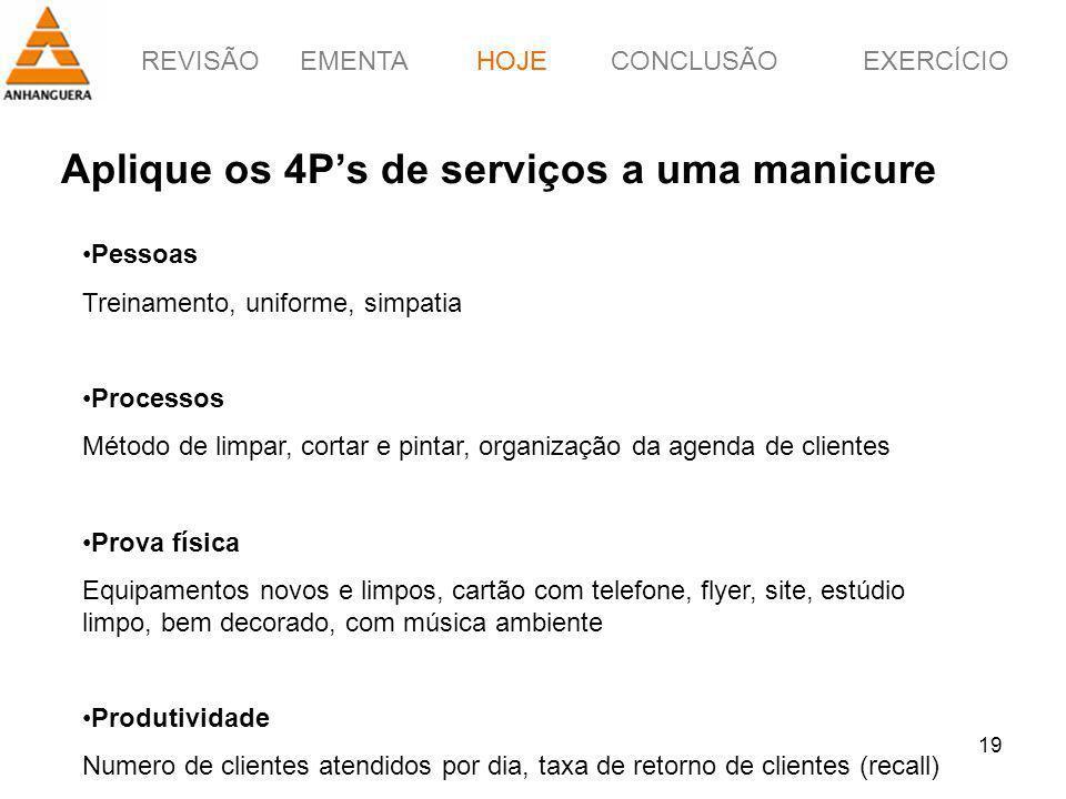 REVISÃOEMENTAHOJEEXERCÍCIOCONCLUSÃO 19 Aplique os 4Ps de serviços a uma manicure HOJE Pessoas Treinamento, uniforme, simpatia Processos Método de limp