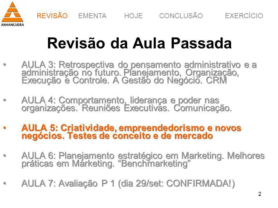 REVISÃOEMENTAHOJEEXERCÍCIOCONCLUSÃO 2 Revisão da Aula Passada AULA 3: Retrospectiva do pensamento administrativo e a administração no futuro. Planejam