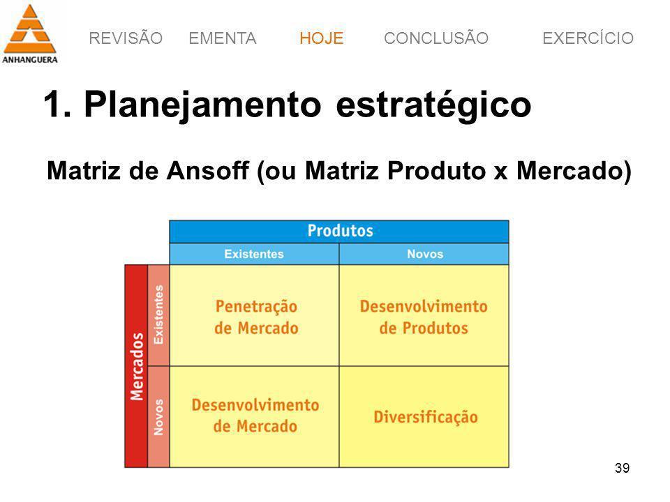 REVISÃOEMENTAHOJEEXERCÍCIOCONCLUSÃO 39 1. Planejamento estratégico Matriz de Ansoff (ou Matriz Produto x Mercado) HOJE