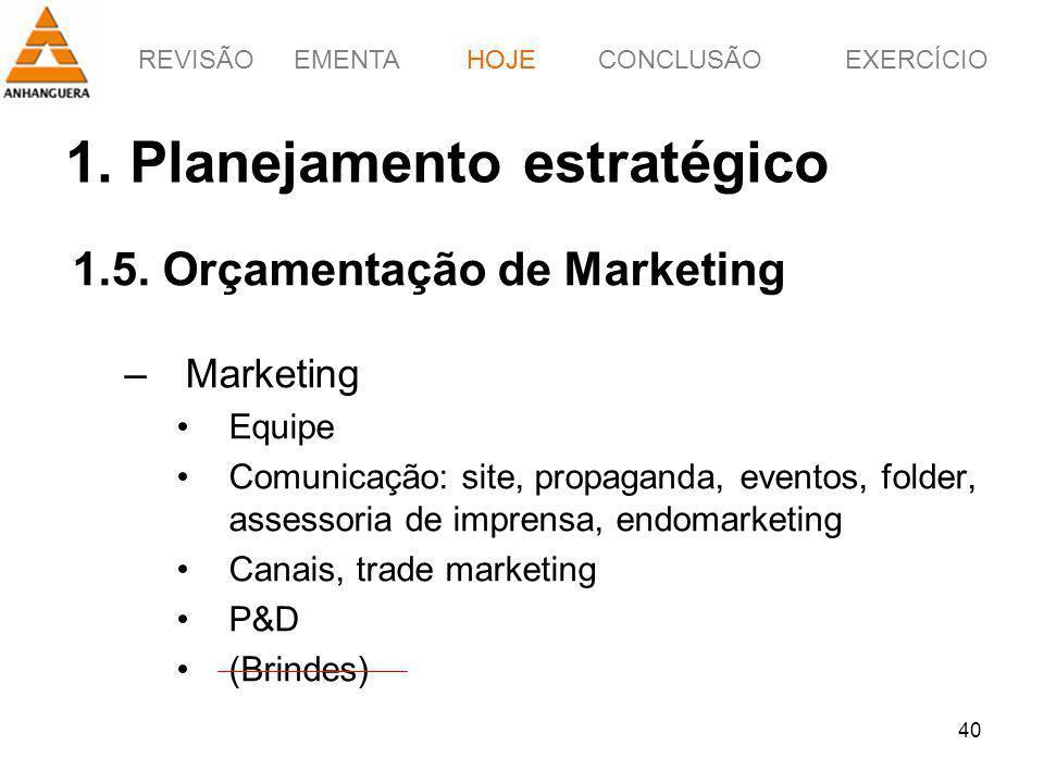 REVISÃOEMENTAHOJEEXERCÍCIOCONCLUSÃO 40 1. Planejamento estratégico 1.5. Orçamentação de Marketing –Marketing Equipe Comunicação: site, propaganda, eve