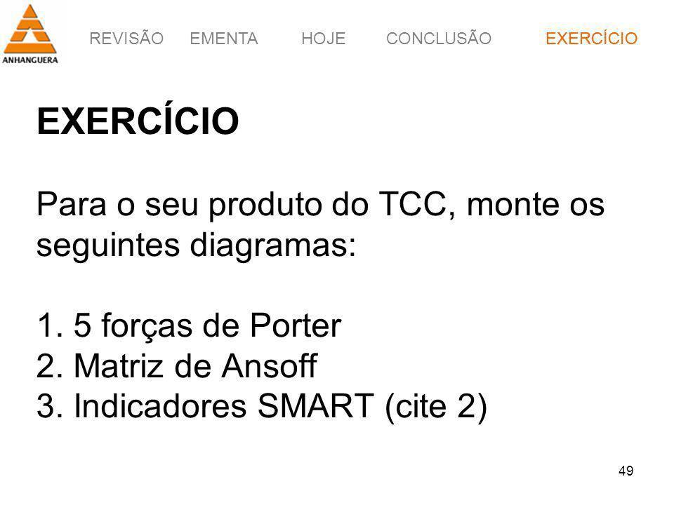 REVISÃOEMENTAHOJEEXERCÍCIOCONCLUSÃO 49 EXERCÍCIO Para o seu produto do TCC, monte os seguintes diagramas: 1. 5 forças de Porter 2. Matriz de Ansoff 3.