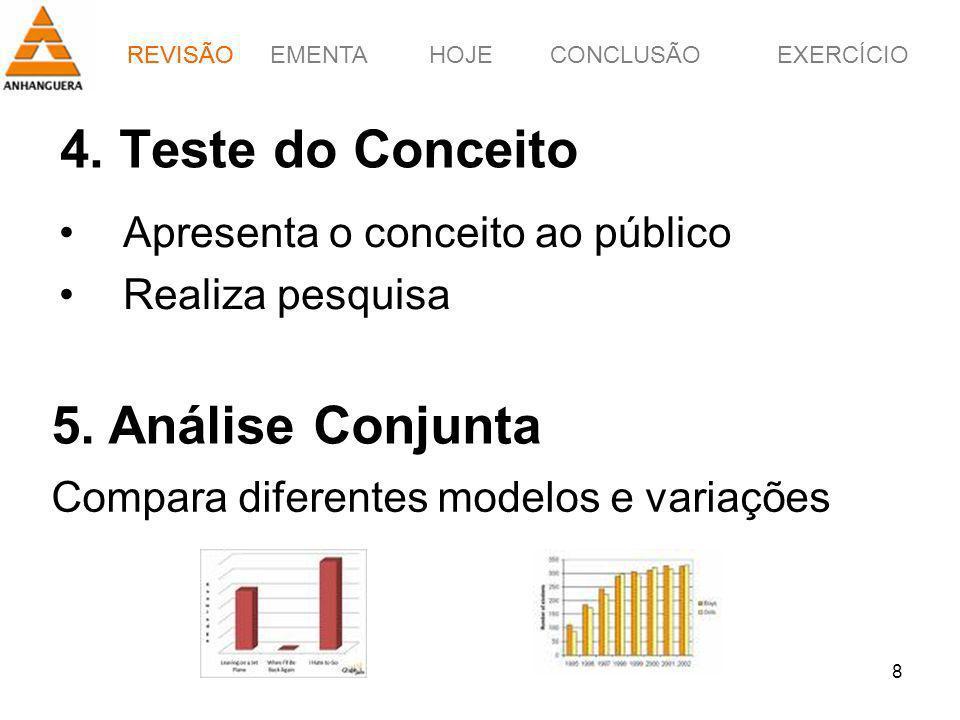 EMENTAHOJEEXERCÍCIOCONCLUSÃO 8 4. Teste do Conceito Apresenta o conceito ao público Realiza pesquisa 5. Análise Conjunta Compara diferentes modelos e