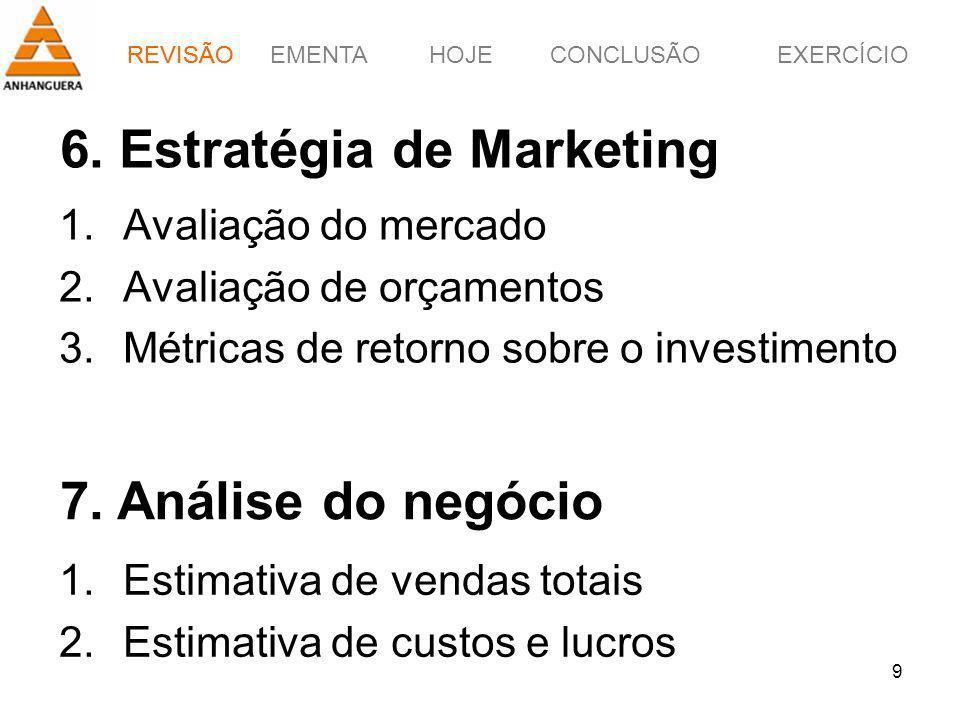 EMENTAHOJEEXERCÍCIOCONCLUSÃO 9 6. Estratégia de Marketing 1.Avaliação do mercado 2.Avaliação de orçamentos 3.Métricas de retorno sobre o investimento