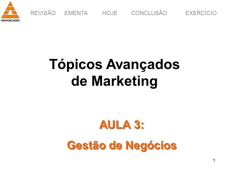 REVISÃOEMENTAHOJEEXERCÍCIOCONCLUSÃO 1 Tópicos Avançados de Marketing AULA 3: Gestão de Negócios AULA 3: Gestão de Negócios