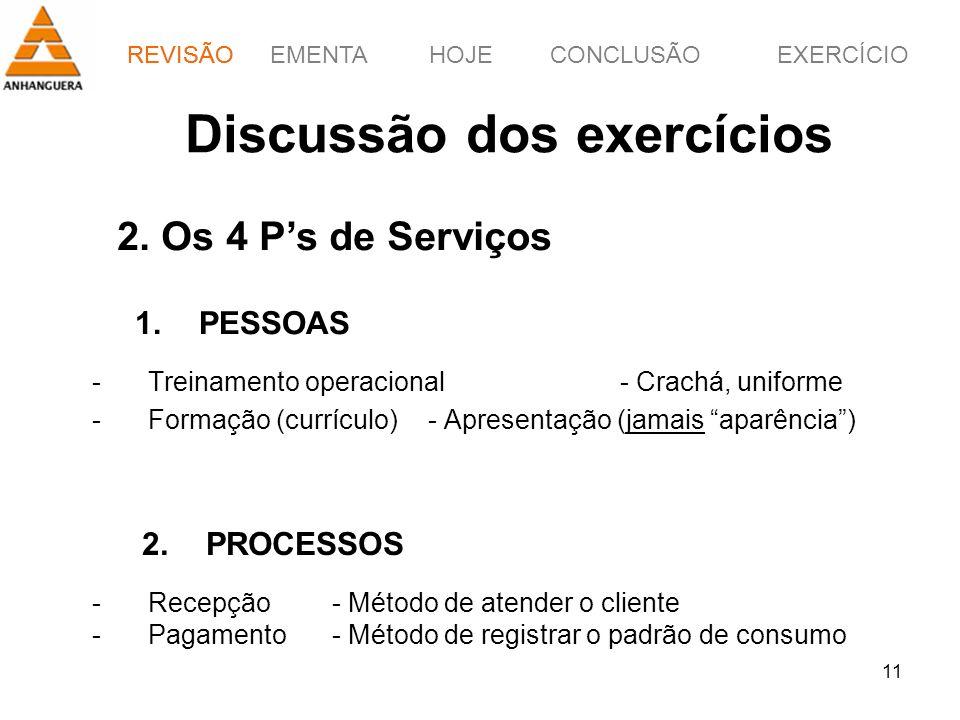 REVISÃOEMENTAHOJEEXERCÍCIOCONCLUSÃO 11 -Treinamento operacional- Crachá, uniforme -Formação (currículo)- Apresentação (jamais aparência) REVISÃO Discu
