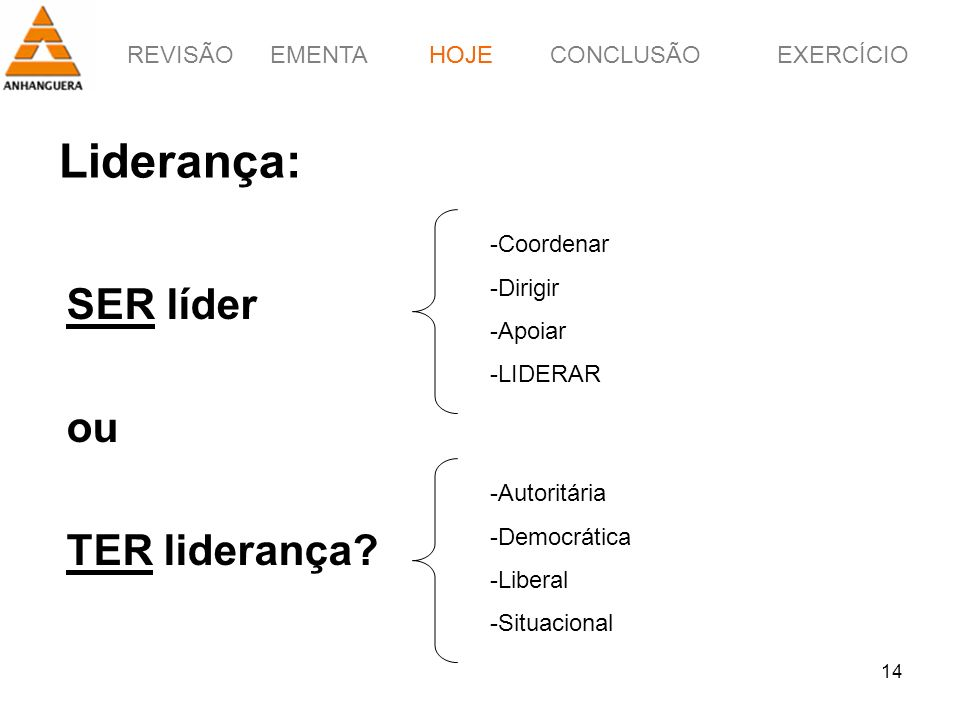 REVISÃOEMENTAHOJEEXERCÍCIOCONCLUSÃO 14 Liderança: SER líder ou TER liderança? HOJE -Autoritária -Democrática -Liberal -Situacional -Coordenar -Dirigir