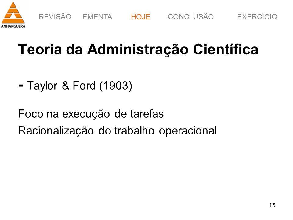 REVISÃOEMENTAHOJEEXERCÍCIOCONCLUSÃO 15 Teoria da Administração Científica - Taylor & Ford (1903) Foco na execução de tarefas Racionalização do trabalh