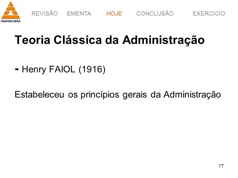 REVISÃOEMENTAHOJEEXERCÍCIOCONCLUSÃO 17 Teoria Clássica da Administração - Henry FAIOL (1916) Estabeleceu os princípios gerais da Administração HOJE