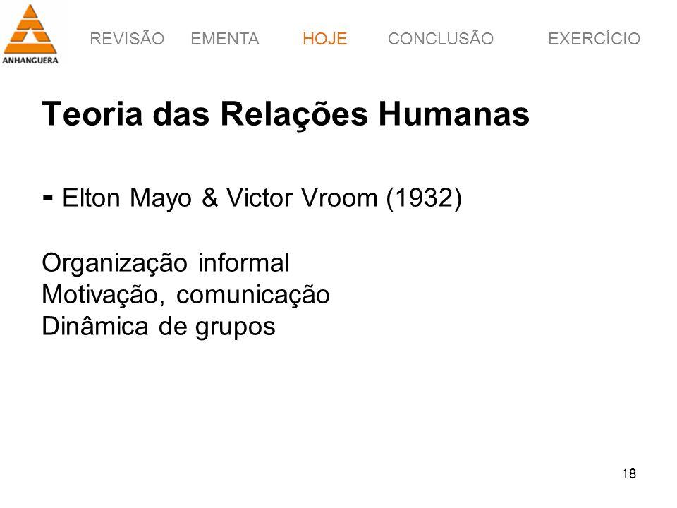 REVISÃOEMENTAHOJEEXERCÍCIOCONCLUSÃO 18 Teoria das Relações Humanas - Elton Mayo & Victor Vroom (1932) Organização informal Motivação, comunicação Dinâ
