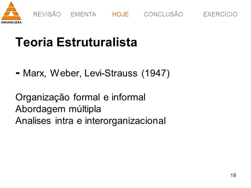 REVISÃOEMENTAHOJEEXERCÍCIOCONCLUSÃO 19 Teoria Estruturalista - Marx, Weber, Levi-Strauss (1947) Organização formal e informal Abordagem múltipla Anali