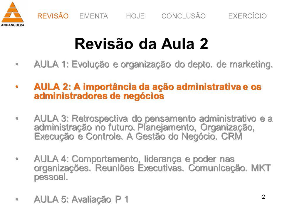 REVISÃOEMENTAHOJEEXERCÍCIOCONCLUSÃO 2 Revisão da Aula 2 AULA 1: Evolução e organização do depto. de marketing. AULA 2: A importância da ação administr