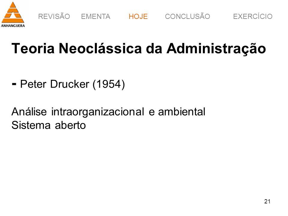 REVISÃOEMENTAHOJEEXERCÍCIOCONCLUSÃO 21 Teoria Neoclássica da Administração - Peter Drucker (1954) Análise intraorganizacional e ambiental Sistema aber