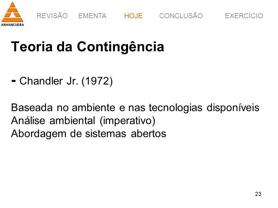 REVISÃOEMENTAHOJEEXERCÍCIOCONCLUSÃO 23 Teoria da Contingência - Chandler Jr. (1972) Baseada no ambiente e nas tecnologias disponíveis Análise ambienta