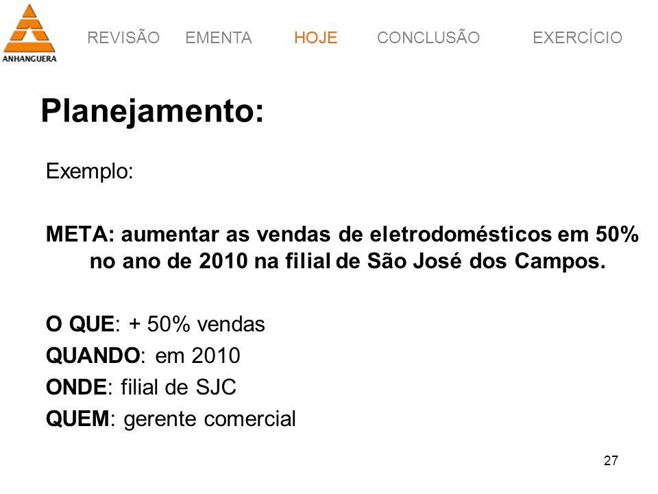 REVISÃOEMENTAHOJEEXERCÍCIOCONCLUSÃO 27 Planejamento: Exemplo: META: aumentar as vendas de eletrodomésticos em 50% no ano de 2010 na filial de São José