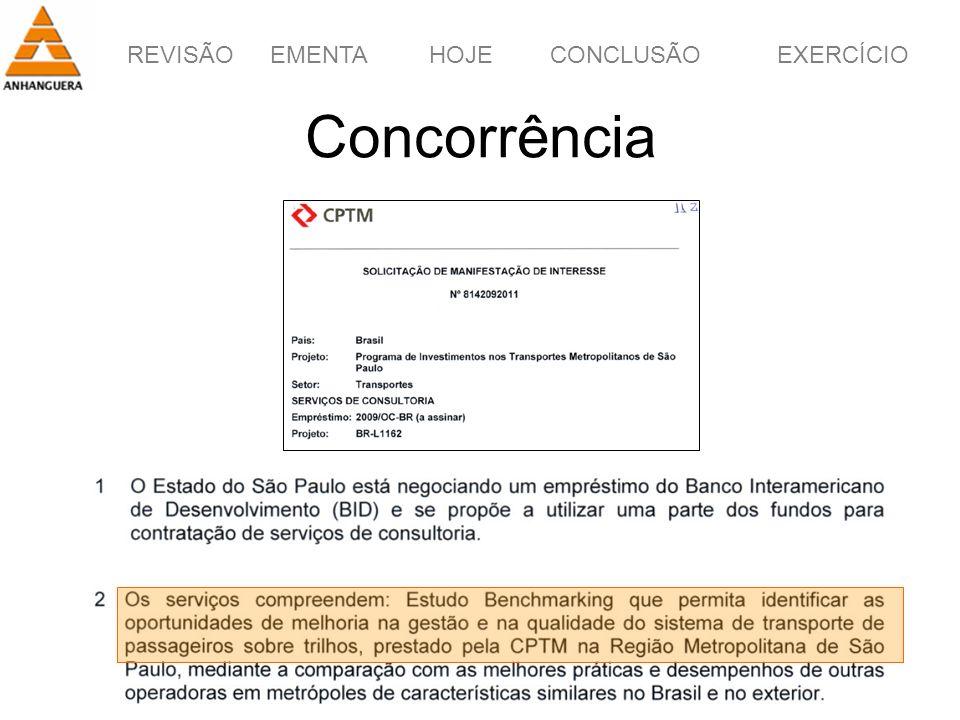 REVISÃOEMENTAHOJEEXERCÍCIOCONCLUSÃO 44 Concorrência