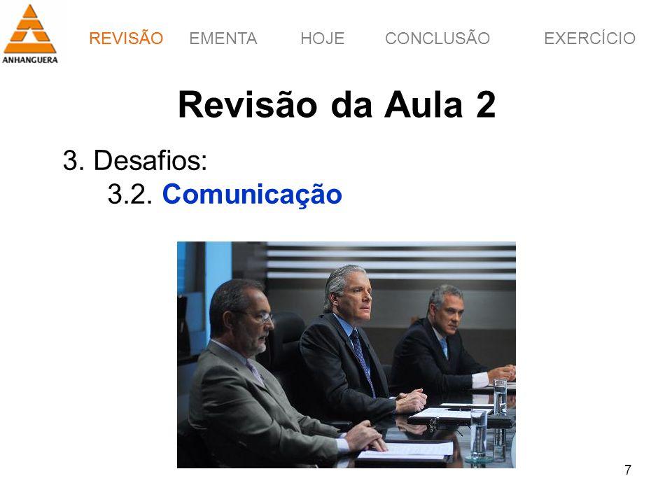 REVISÃOEMENTAHOJEEXERCÍCIOCONCLUSÃO 7 Revisão da Aula 2 3. Desafios: 3.2. Comunicação REVISÃO