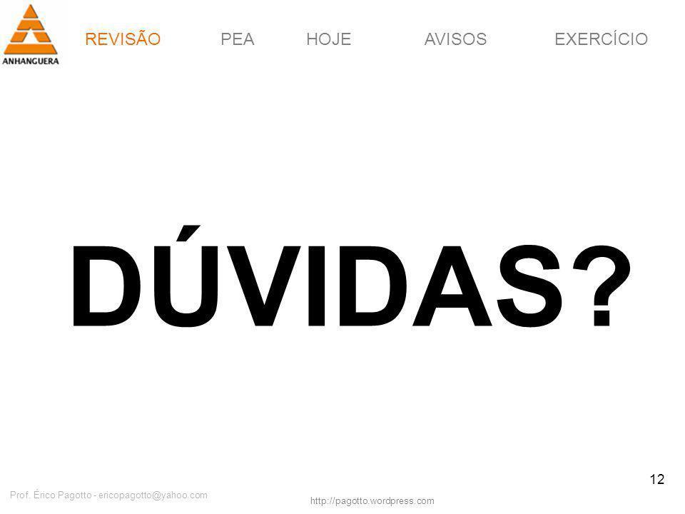 REVISÃOPEAHOJEEXERCÍCIOAVISOS http://pagotto.wordpress.com Prof. Érico Pagotto - ericopagotto@yahoo.com 12 DÚVIDAS? REVISÃO