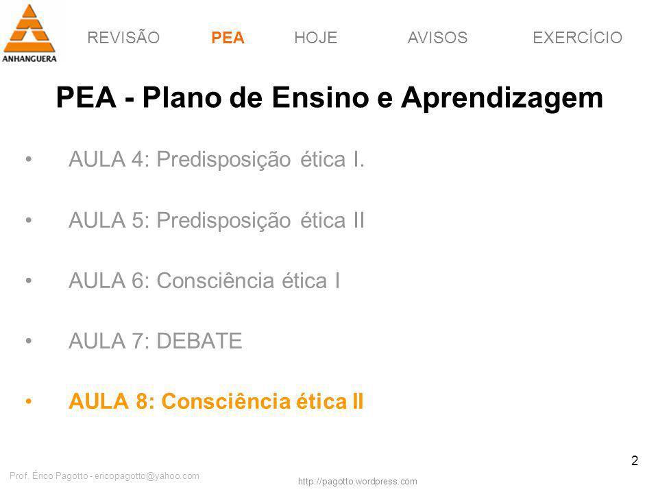 REVISÃOPEAHOJEEXERCÍCIOAVISOS http://pagotto.wordpress.com Prof. Érico Pagotto - ericopagotto@yahoo.com 2 PEA - Plano de Ensino e Aprendizagem AULA 4: