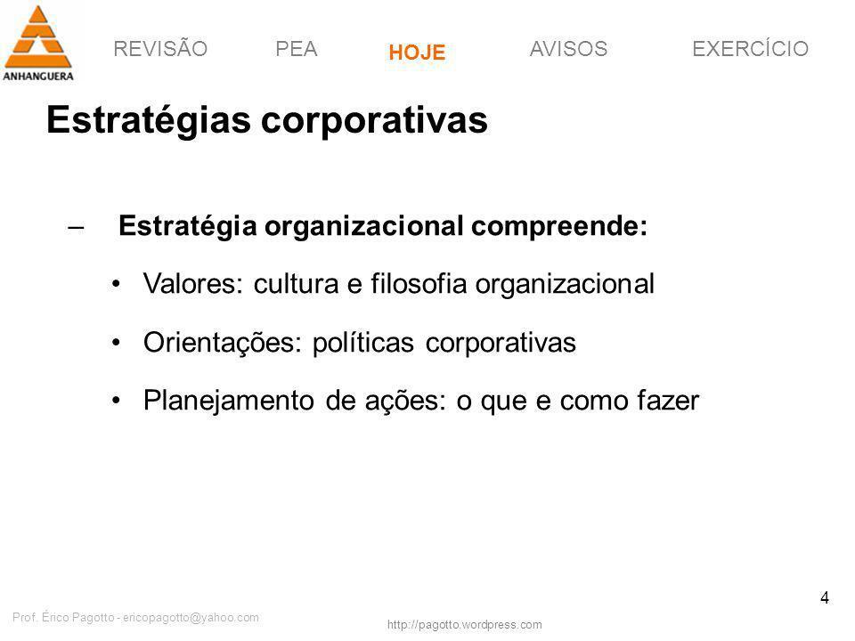 REVISÃOPEAHOJEEXERCÍCIOAVISOS http://pagotto.wordpress.com Prof. Érico Pagotto - ericopagotto@yahoo.com 4 Estratégias corporativas –Estratégia organiz