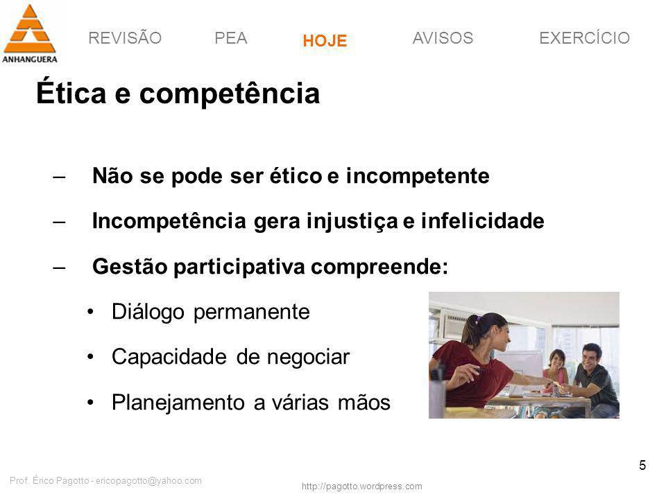 REVISÃOPEAHOJEEXERCÍCIOAVISOS http://pagotto.wordpress.com Prof. Érico Pagotto - ericopagotto@yahoo.com 5 Ética e competência –Não se pode ser ético e