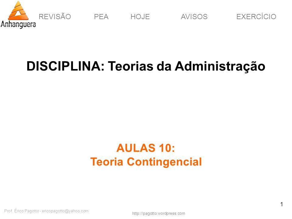 REVISÃOPEAHOJEEXERCÍCIOAVISOS http://pagotto.wordpress.com Prof. Érico Pagotto - ericopagotto@yahoo.com 1 DISCIPLINA: Teorias da Administração AULAS 1