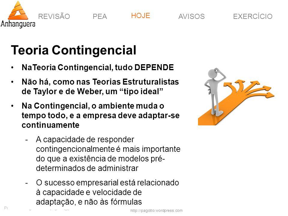 REVISÃOPEAHOJEEXERCÍCIOAVISOS http://pagotto.wordpress.com Prof. Érico Pagotto - ericopagotto@yahoo.com Teoria Contingencial NaTeoria Contingencial, t