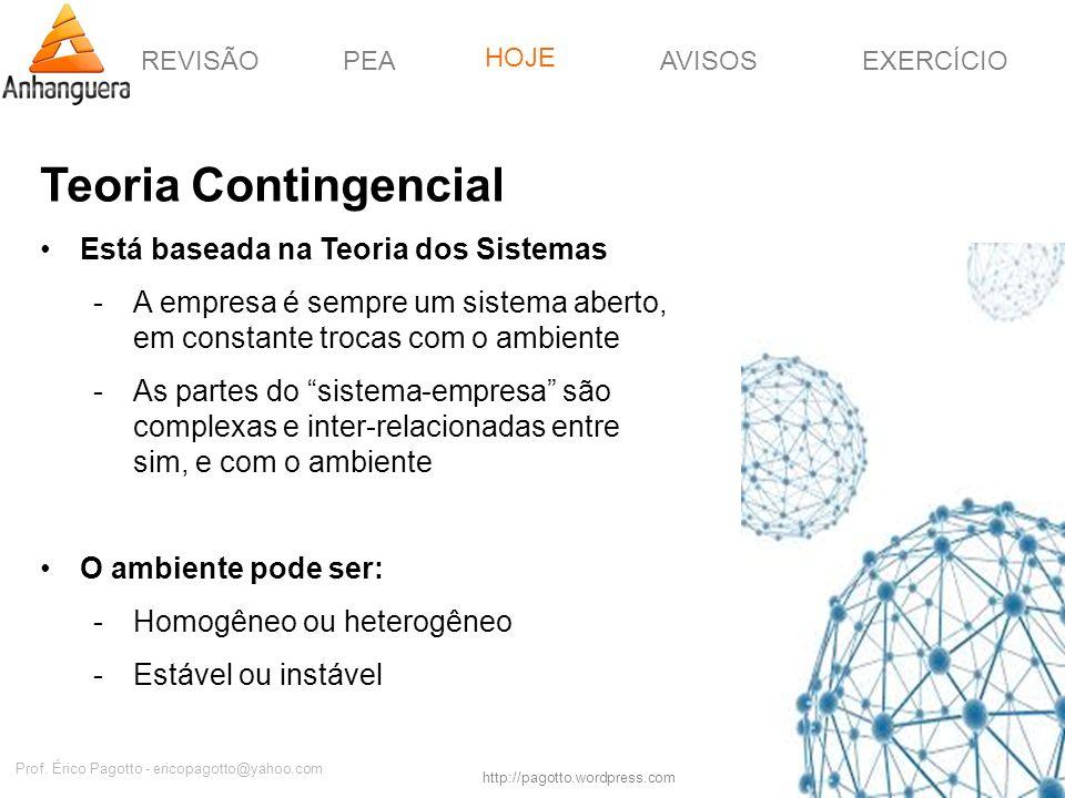 REVISÃOPEAHOJEEXERCÍCIOAVISOS http://pagotto.wordpress.com Prof. Érico Pagotto - ericopagotto@yahoo.com Teoria Contingencial Está baseada na Teoria do