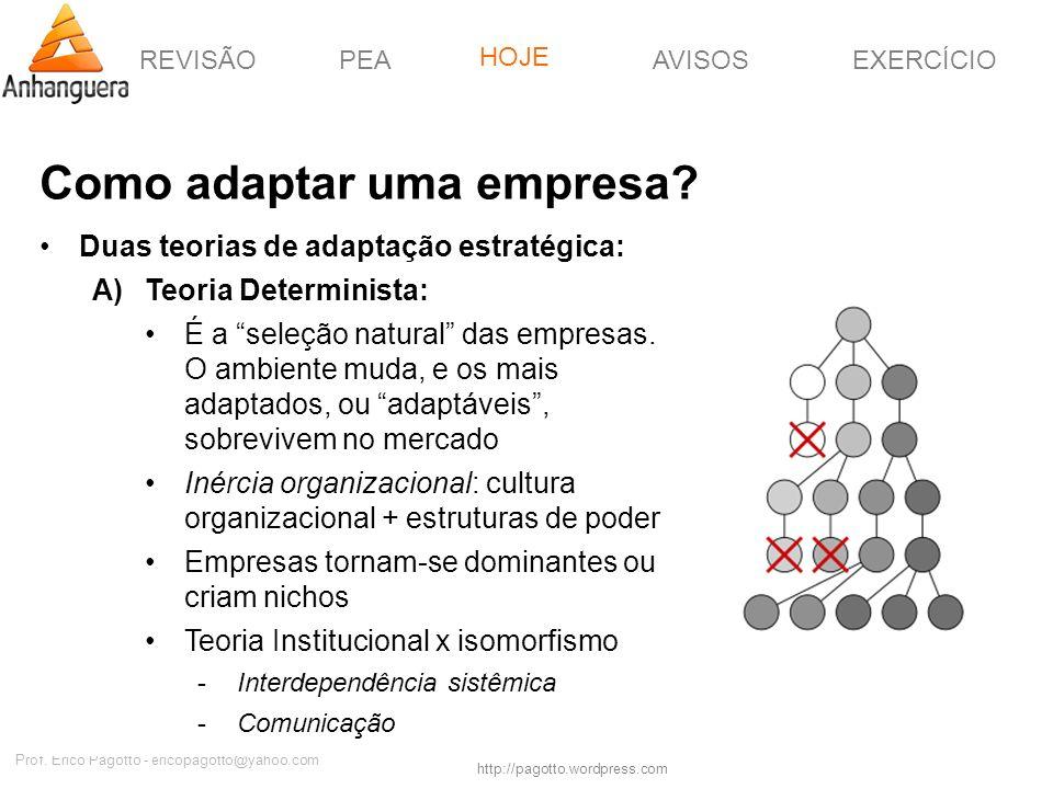 REVISÃOPEAHOJEEXERCÍCIOAVISOS http://pagotto.wordpress.com Prof. Érico Pagotto - ericopagotto@yahoo.com Como adaptar uma empresa? Duas teorias de adap