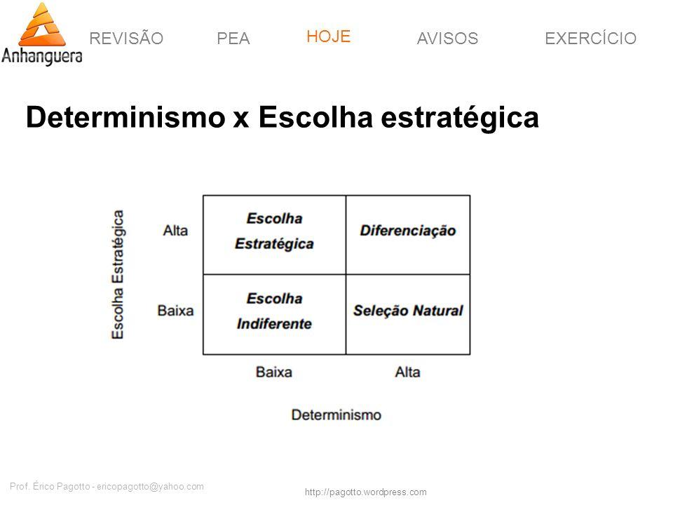 REVISÃOPEAHOJEEXERCÍCIOAVISOS http://pagotto.wordpress.com Prof. Érico Pagotto - ericopagotto@yahoo.com Determinismo x Escolha estratégica HOJE