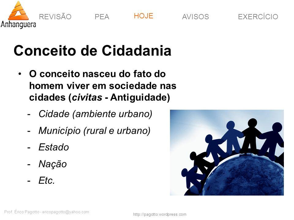 REVISÃOPEAHOJEEXERCÍCIOAVISOS http://pagotto.wordpress.com Prof. Érico Pagotto - ericopagotto@yahoo.com Conceito de Cidadania O conceito nasceu do fat